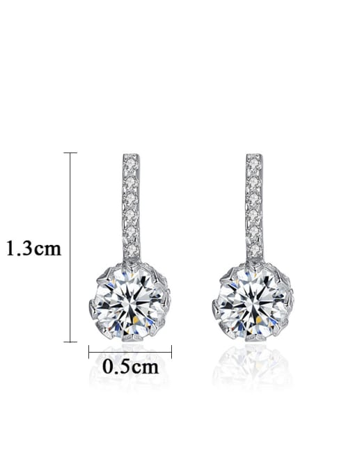 CCUI 925 Sterling Silver With  Cubic Zirconia  Cute Round Stud Earrings 3