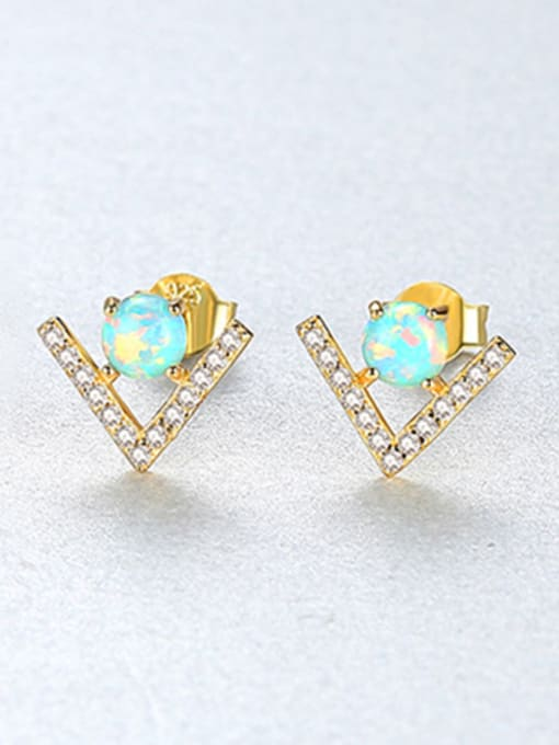 Green 925 Sterling Silver With Opal  Cute Triangle Stud Earrings