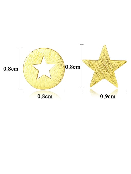 CCUI 925 Sterling Silver With  Glossy Simplistic Stars moon asymmetry  Stud Earrings 4