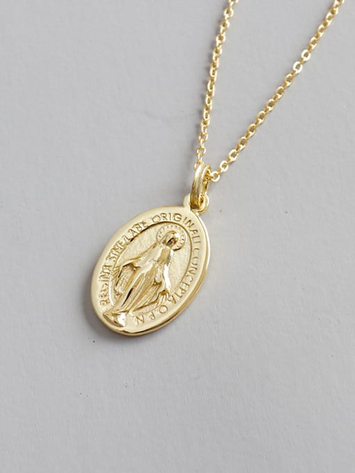 Dak Phoenix 925 Sterling Silver With 18k Gold Plated Vintage Virgin Mary tag Oval Necklaces