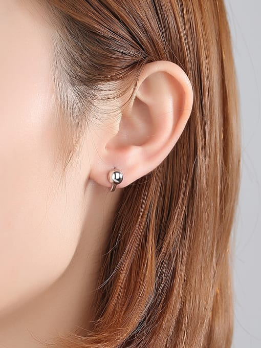 BLING SU Copper With Platinum Plated Casual Ball Stud Earrings 1