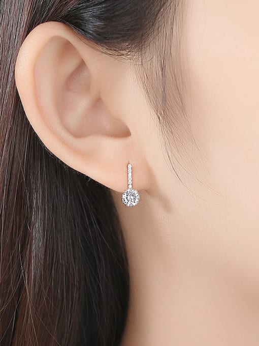 CCUI 925 Sterling Silver With  Cubic Zirconia  Cute Round Stud Earrings 1