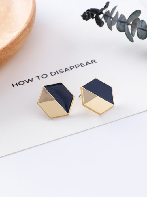 17#10426W Alloy With Gold Plated Trendy Geometric Stud Earrings