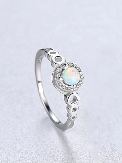 White 925 Sterling Silver With Opal  Simplistic Round Band Rings