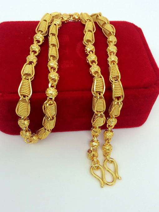 Golden Men Delicate Hollow Beads Necklace