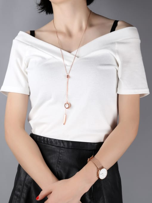 Open Sky Copper With Rose Gold Plated Simplistic Round Necklaces 1
