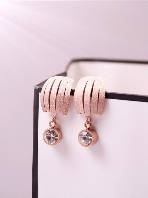 Rose Zircons Temperament Korean Stud Earrings 1
