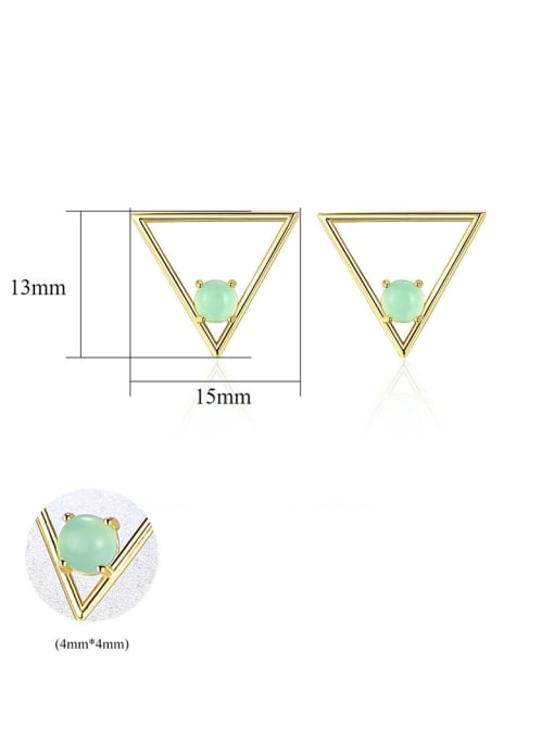 CCUI 925 Sterling Silver With Opal Simplistic Triangle Stud Earrings 4