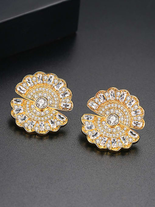 BLING SU Copper With Gold Plated Trendy Round Stud Earrings