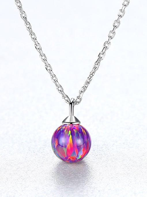Red 925 Sterling Silver With multicolor opal simple  Ball Necklaces
