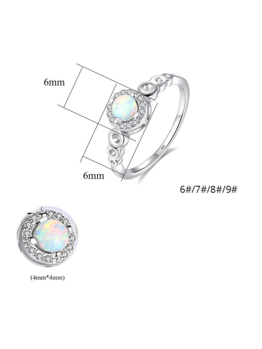 CCUI 925 Sterling Silver With Opal  Simplistic Round Band Rings 4