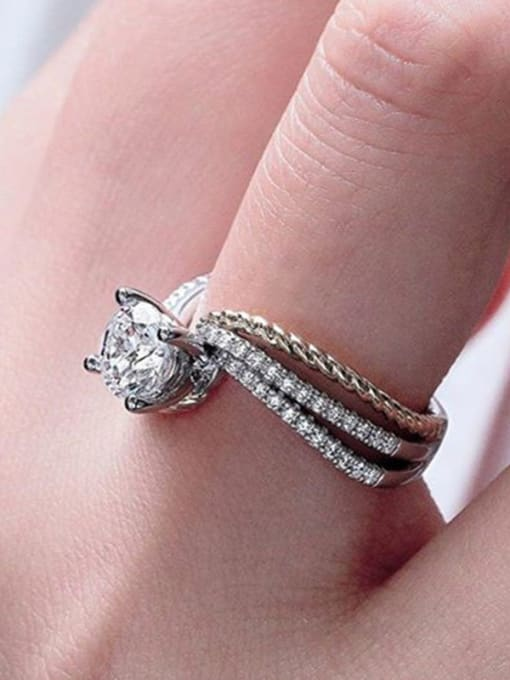 Two color Copper With White Gold Plated Delicate Cubic Zirconia Solitaire Rings