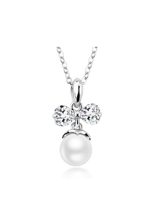 OUXI Fashion Bowknot Artificial Pearls Necklace 0