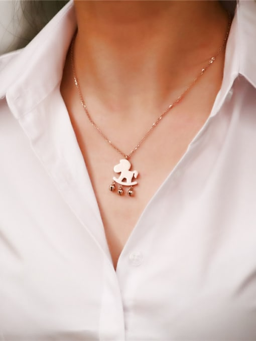 Rose Lovely Horse Women Clavicle Necklace 0