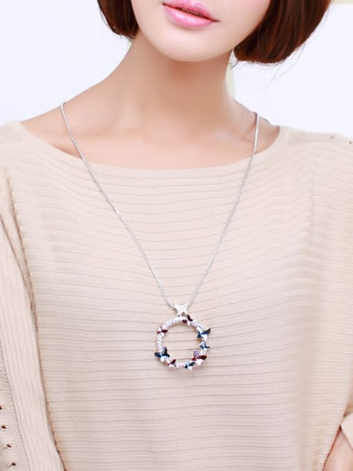 OUXI Austria Crystals Butterfly Round Necklace 1
