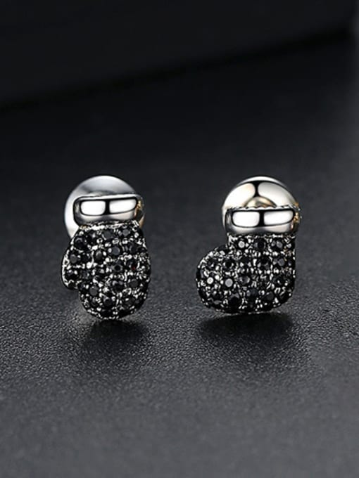 Gun Black-T02E19 Copper With 18k Gold Plated Fashion Clothes Stud Earrings