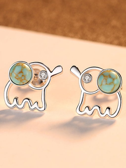 Sliver 925 Sterling Silver WithTurquoise Cute Animal Elephant Stud Earrings