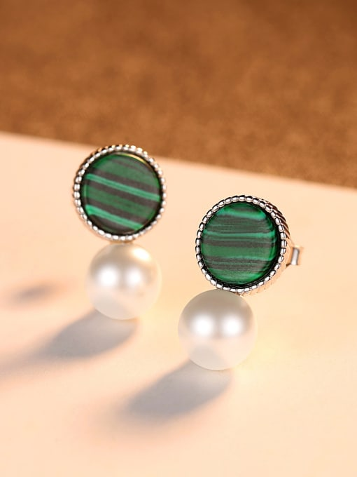 CCUI 925 Sterling Silver With  Artificial Pearl Fashion Round Stud Earrings 3