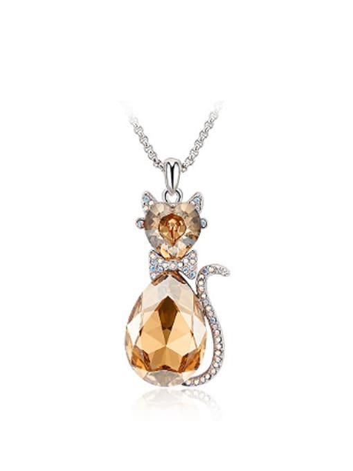 OUXI Fashion Austria Crystals Rhinestones Cat Necklace