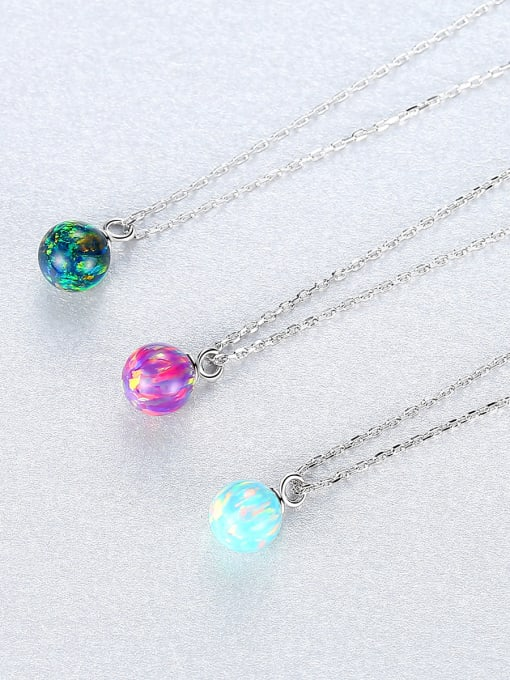 CCUI 925 Sterling Silver With multicolor opal simple  Ball Necklaces 2