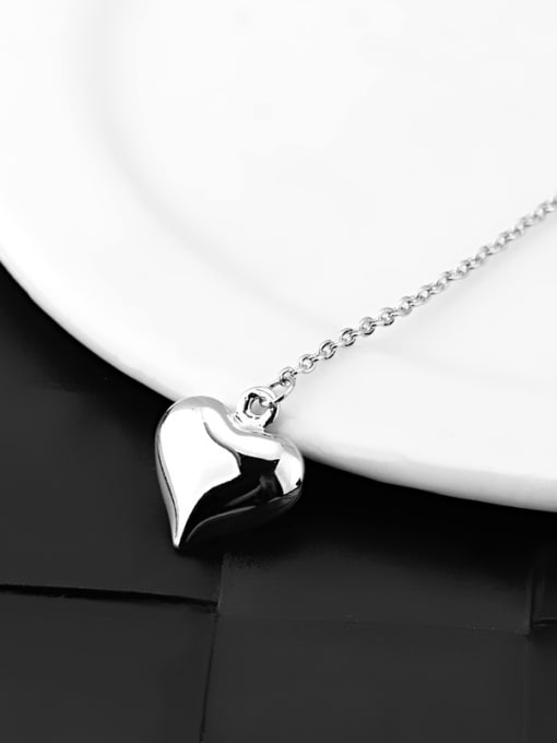 OUXI Simple Heart shapes Platinum Plated Necklace 1