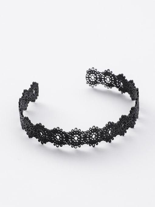 Black Bracelet Alloy With Gold Plated Trendy Retro lace Ring Bracelet