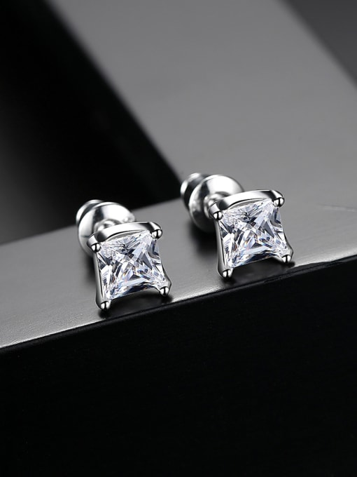 BLING SU Copper With Silver Plated Simplistic Geometric Stud Earrings