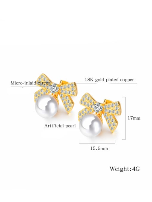 Open Sky Copper With 18k Gold Plated Cute Insect bee Earrings 2