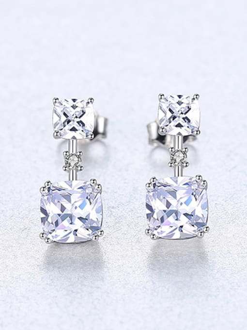 Sliver 925 Sterling Silver With Cubic Zirconia Delicate Square Stud Earrings