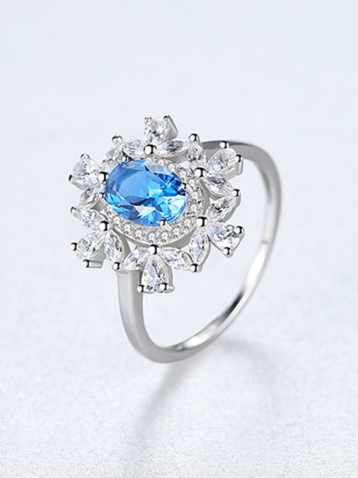 Blue 925 Sterling Silver With Sapphire Luxury Flower Solitaire Rings