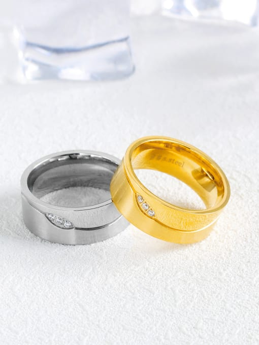 Open Sky Stainless Steel With Gold Plated Classic Geometric Wedding Rings 2