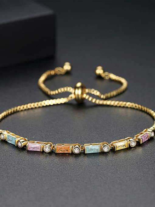 18k-Gold Copper With 18k Gold Plated Fashion Geometric Cubic Zirconia Bracelets