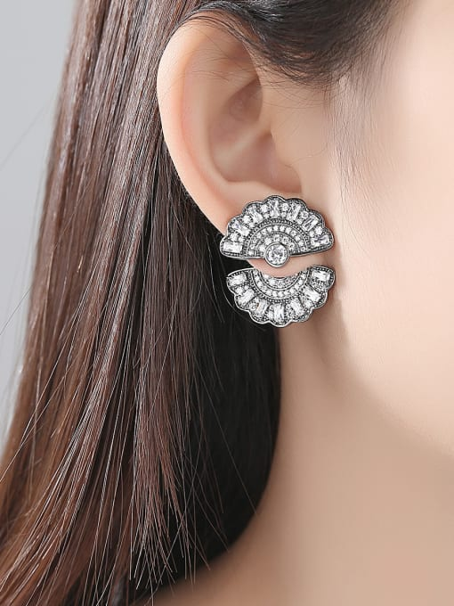 BLING SU Copper With Gold Plated Trendy Round Stud Earrings 1