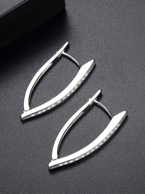 BLING SU Copper inlaid AAA zircon fashion creative V-shape Earring 1