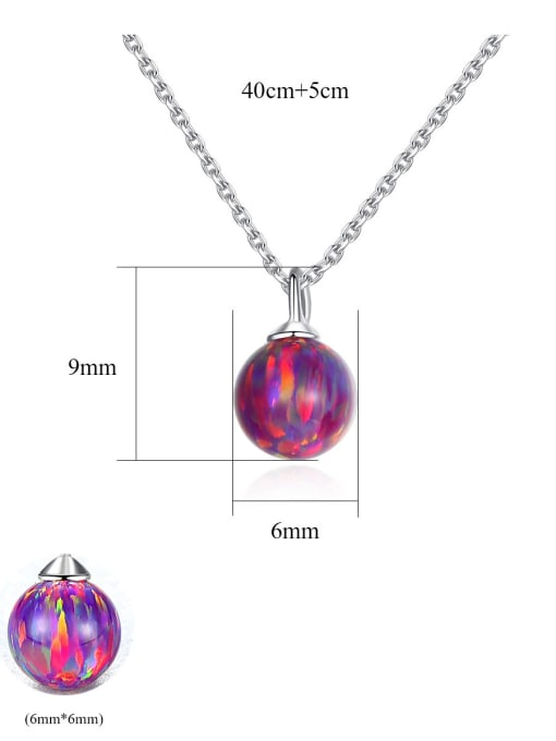 CCUI 925 Sterling Silver With multicolor opal simple  Ball Necklaces 4