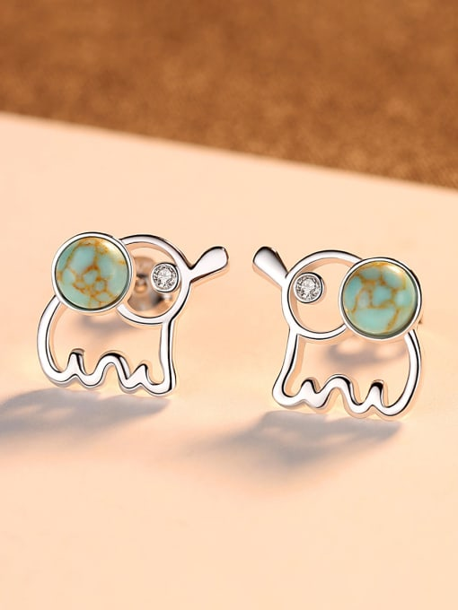 CCUI 925 Sterling Silver WithTurquoise Cute Animal Elephant Stud Earrings 2