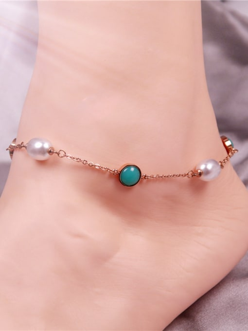 Rose Temperament Shell Pearls Women Anklet 1