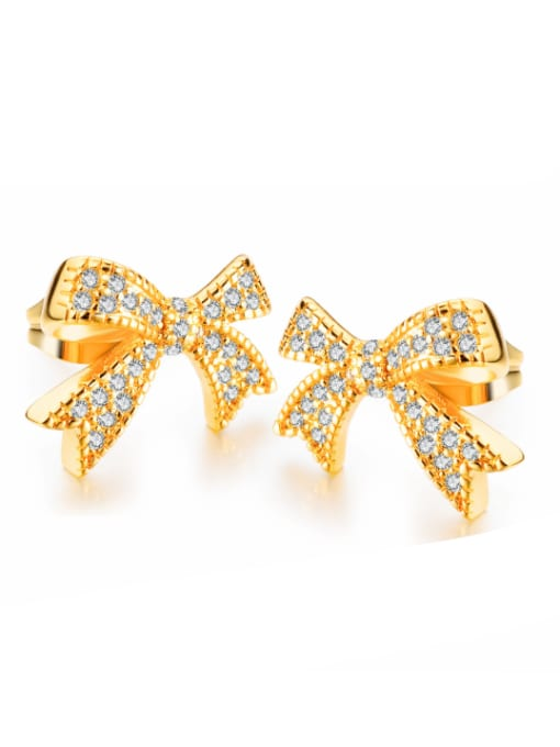 Open Sky Copper With 18k Gold Plated Classic Bowknot Earrings 0
