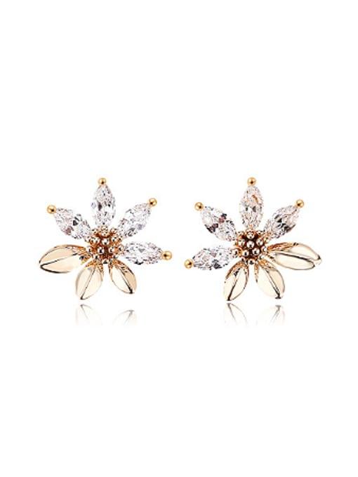 OUXI Exquisite Zircon Flowery Stud Earrings 0
