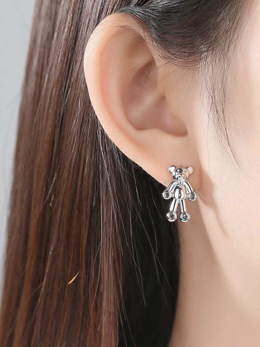 BLING SU Copper With 18k Gold Plated cute Animal bear Stud Earrings 1