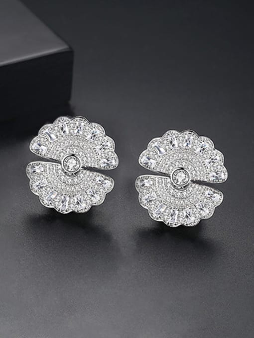 Platinum Copper With Gold Plated Trendy Round Stud Earrings