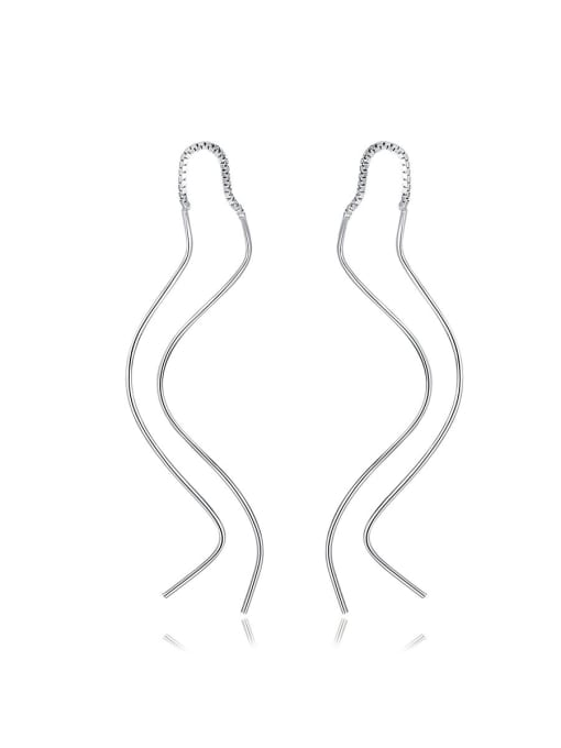 CCUI 925 Sterling Silver With Glossy line Simplistic Fringe  Earrings 0