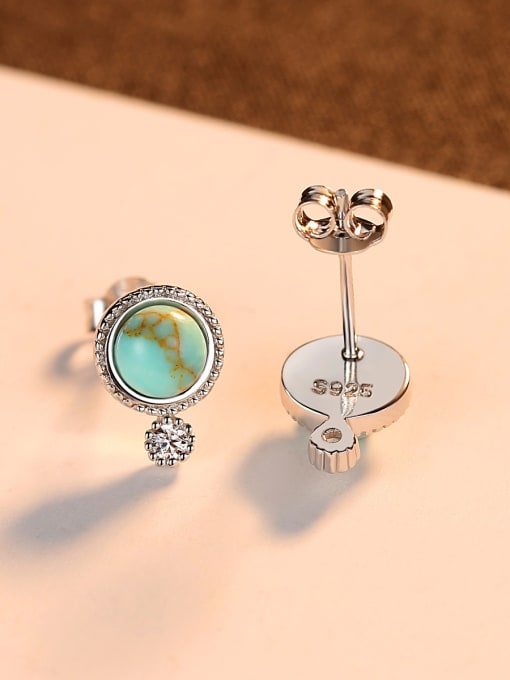 CCUI 925 Sterling Silver With Turquoise Vintage Sliver Round Stud Earrings 2