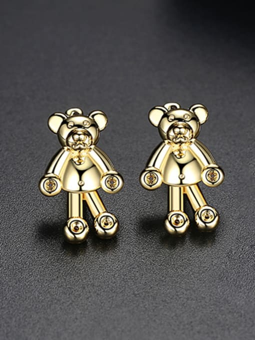 18k-gold T02C23 Copper With 18k Gold Plated cute Animal bear Stud Earrings