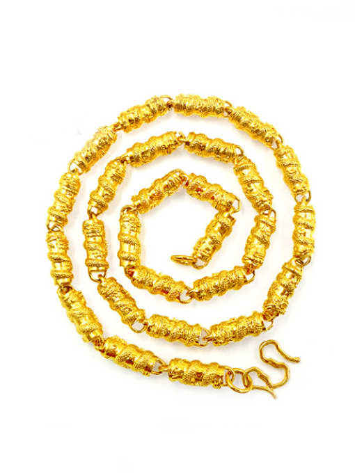 golden Dragon Pattern Cylinder Shaped Necklace