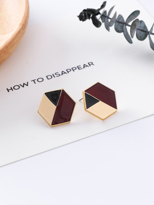16#10426V Alloy With Gold Plated Trendy Geometric Stud Earrings