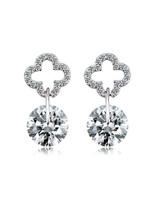 OUXI Fashion Clover Zircon Stud Earrings 0