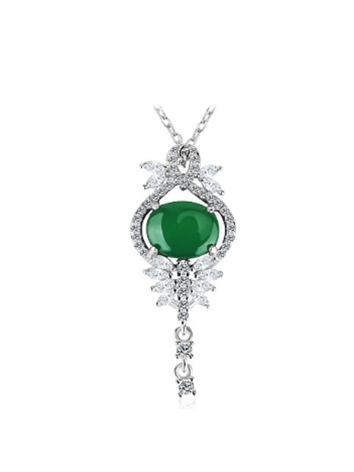 OUXI Fashion Green Stone Zircon Pendant 0