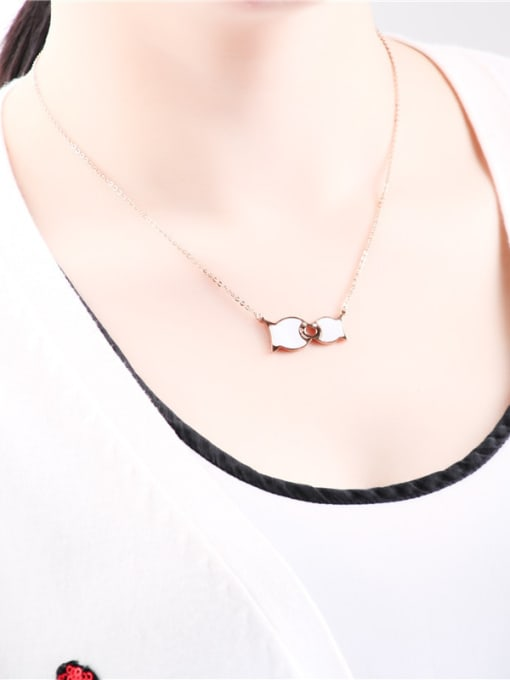 Rose Kissing Fish Pendant Clavicle Necklace 1