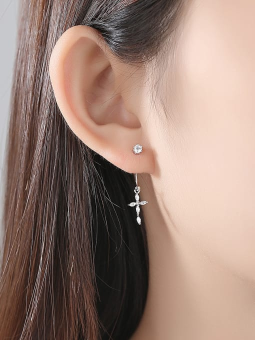 BLING SU Copper With Platinum Plated Delicate Cross Stud Earrings 1